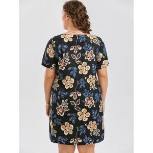 Floral Plus Size Sheath Knee Length Dress - BLACK 5XL