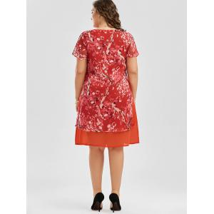 Floral Print Shift Plus Size Chiffon Dress - ORANGE RED 3XL