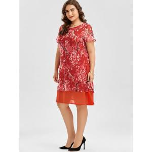 Floral Print Shift Plus Size Chiffon Dress - ORANGE RED 4XL