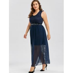 Plus Size Chiffon Long Evening Formal Maxi Dress - PURPLISH BLUE 4XL