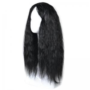 Lolita Long Center Part Corn Hot Curly Cosplay Synthetic Wig - BLACK