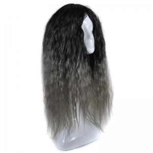 Lolita Colormix Long Center Part Corn Hot Curly Cosplay Synthetic Wig - BLACK GRAY
