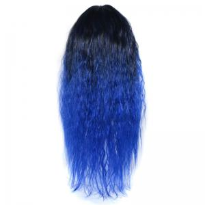 Lolita Colormix Long Center Part Corn Hot Curly Cosplay Synthetic Wig - BLACK AND BLUE