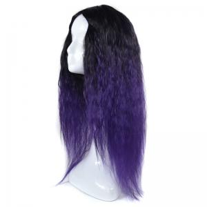 Lolita Colormix Long Center Part Corn Hot Curly Cosplay Synthetic Wig - BLACK/PURPLE