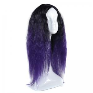 Lolita Colormix Long Center Part Corn Hot Curly Cosplay Synthetic Wig - BLACK AND PURPLE