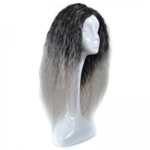 Lolita Shaggy Middle Part Long Curly Corn Hot Ombre Synthetic Wig - BLACK GRAY