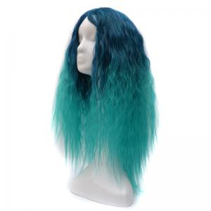 Lolita Shaggy Middle Part Long Curly Corn Hot Ombre Synthetic Wig - GREEN