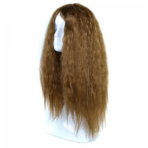 Lolita Shaggy Middle Part Long Curly Corn Hot Synthetic Wig - BROWN