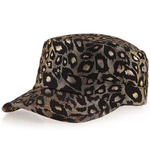 Flat Top Shimmer Leopard Printing Military Hat