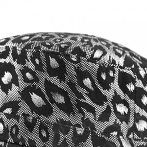 Flat Top Shimmer Leopard Printing Military Hat - SILVER