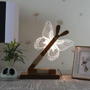 3D Stereoscopic Butterfly Home Decoration LED Desk Lamp - White - Us Plug