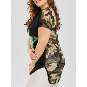 Plus Size Long Semi Sheer Camouflage Print T-shirt - Black - 4xl