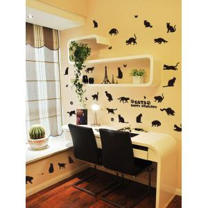 Cat Animal Removable Home Decor Wall Sticker - BLACK 45*60CM