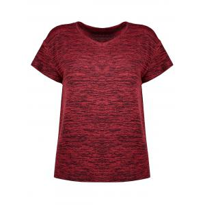 Plus Size  Marled Simple V Neck T-shirt - Wine Red - 3xl