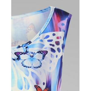 Butterfly Print Plus Size Tunic - COLORMIX 2XL