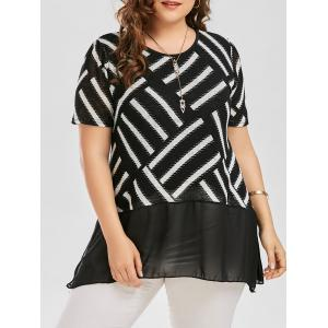 Plus Size Striped Swing Blouse with Chiffon Panel - Black - 4xl