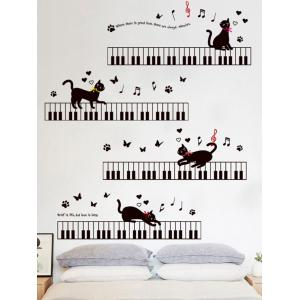 Removable Cartoon Cat Piano Wall Sticker For Kids - BLACK 60*90CM