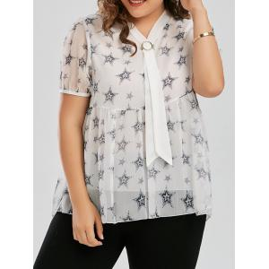 Plus Size Chiffon Star Printed Pussy Bow  Swing Blouse