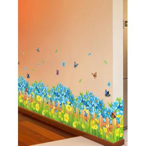 Flower Waterproof Wall Skirting Line Sticker - COLORMIX 50*70CM