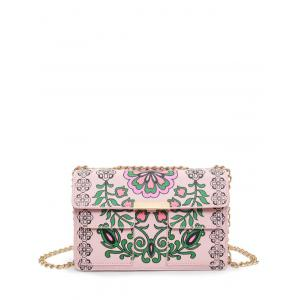 Chain Flower Print Crossbody Bag - Pink