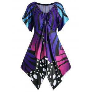 V Neck Butterfly Print Plus Size Party Tunic Top