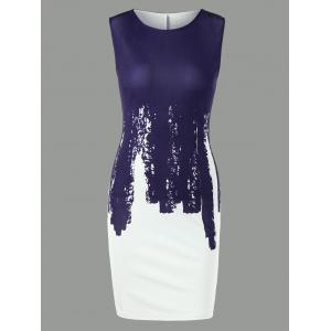 Sleeveless Two Tone Bodycon Dress - Purplish Blue - 2xl