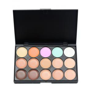 15 Colours Cream Concealer Palette and Random Color Makeup Sponge -