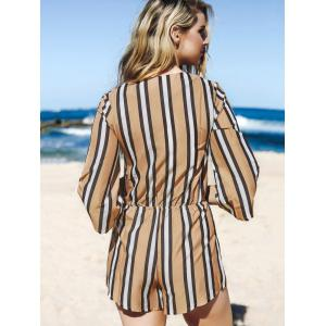 Fashion Plunging Neck 3/4 Sleeve Striped Drawstring Romper For Women -