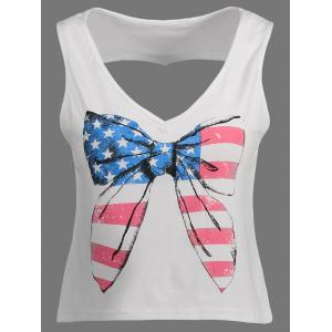 American Flag Cut Out Patriotic Tank Top - White - S