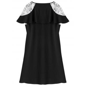 Plus Size Lace Trim Bowknot Mini Dress - BLACK 5XL