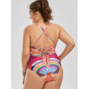 Lace Up Plus Size One Piece Graphic Swimsuit -