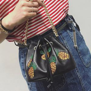 Chain Pineapple Embroidered Bucket Bag - BLACK