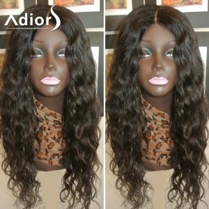 Adiors Long Dyed Perm Center Parting Curly Lace Front Synthetic Wig - #1b - 24inch