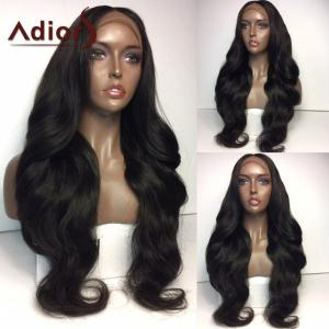 Adiors Middle Part Long Thick Natural Wavy Lace Front Synthetic Wig - #1b - 26inch