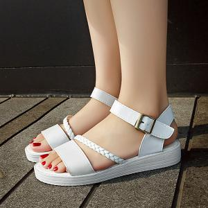 Flat Heel Faux Leather Sandals - WHITE 39