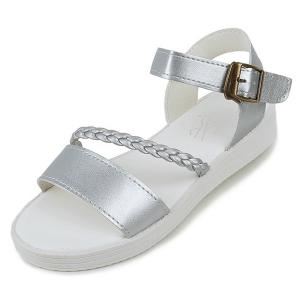 Flat Heel Faux Leather Sandals - SILVER 39