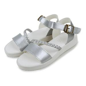 Flat Heel Faux Leather Sandals - SILVER 38