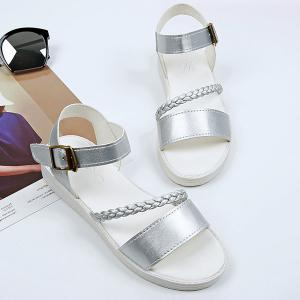 Flat Heel Faux Leather Sandals - Silver - 38