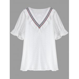 Plus Size V Neck Lace Top