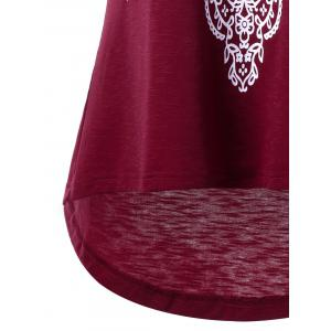 Printed Sleeveless High Low T-shirt - WINE RED L