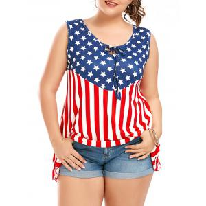 Plus Size American Flag Patriotic Sleeveless T-Shirt - Colormix - 4xl