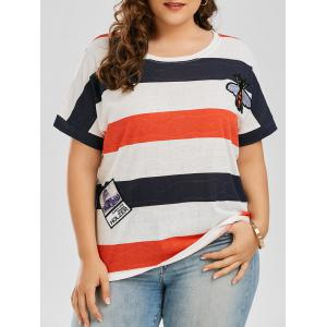 Patched Plus Size Striped T Shirt