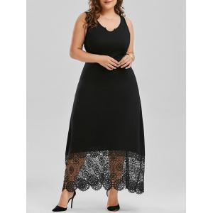 Scalloped Lace Panel Plus Size Prom Dress - Black - 2xl
