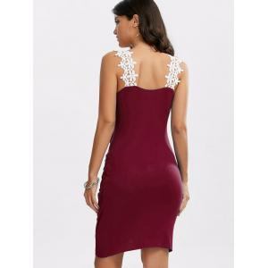 Crochet Panel Overlap Ruched V Neck Dress - WINE RED XL