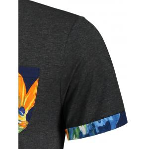 Floral Printed Pocket Tee - DEEP GRAY M
