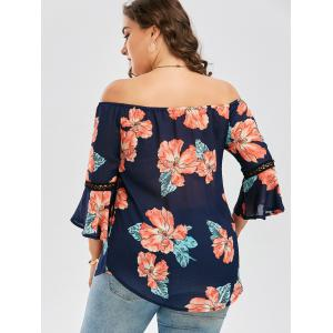 Plus Size Chiffon Off The Shoulder Floral Hawaiian Blouse - DEEP BLUE 3XL