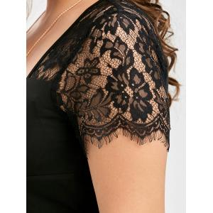 Lace Panel Plus Size Sweetheart Formal Dress - BLACK 5XL