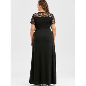 Lace Panel Plus Size Maxi Prom Party Dress - BLACK 5XL