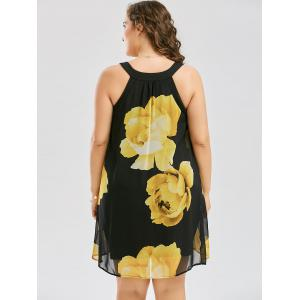 Plus Size Floral Overlay Sheath Dress - YELLOW 5XL
