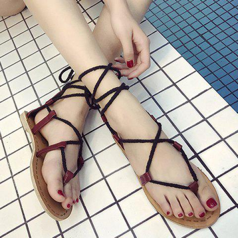 Tie Up Flat Heel Sandals - Wine Red - 38